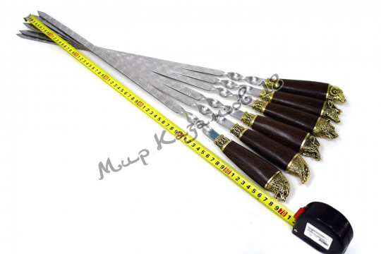 Подарочный набор плоских шампуров (Разные звери) 6 шт 45 см