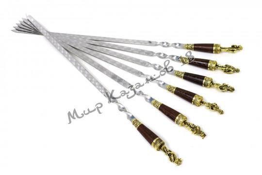 Подарочный набор плоских шампуров (Звери воины) 6 шт 45 см