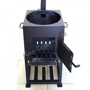 Печь квадратная с трубой, диаметр отверстия 36 мм, сталь 4 мм