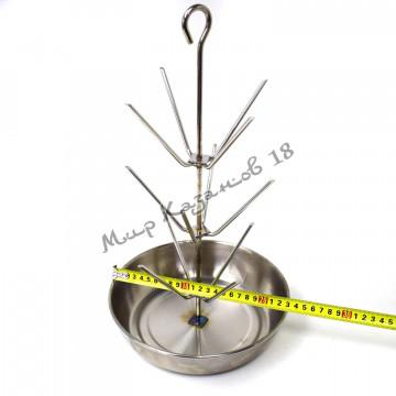 Ёлочка для тандыра 3 яруса, высота 40см, диаметр чаши 23см, нержавейка