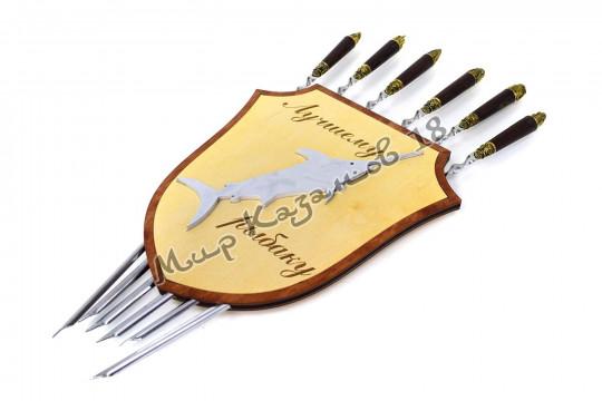 Держатель для 6 шампуров Щит с накладками