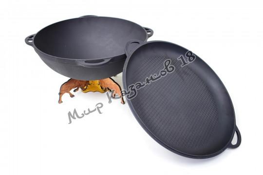 Чугунный казан Ситон 17 л. с крышкой-сковородой