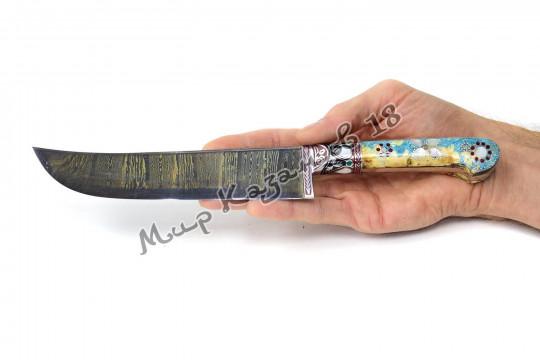 Пчак средний, рукоять стаб. карельская берёза, гарда олово, ёрма, сталь Дамаск