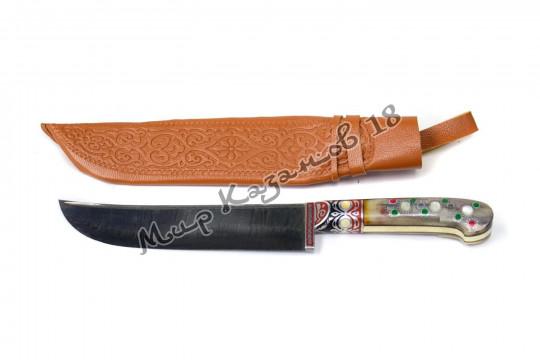 Пчак средний, рукоять текстолит, гарда олово, ёрма, сталь Дамаск