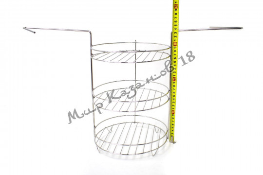 Этажерка (решётка) для тандыра (220х335 мм) 3 яруса с доп. бортами, нержавейка