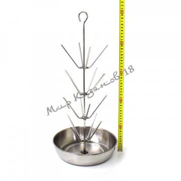 Ёлочка для тандыра 4 яруса, высота 50см, диаметр чаши 23см, нержавейка