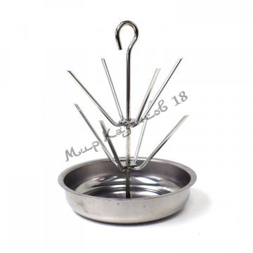 Ёлочка для тандыра 2 яруса, высота 25см, диаметр чаши 19см, нержавейка