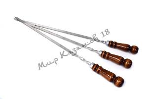 Шампур из нерж. стали 450 х 10 х 3 мм Ручка дерево с огнеуп. кольцом