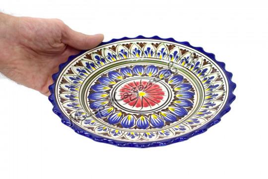 Тарелка (фарфор) 22 см НАКША Синяя резная
