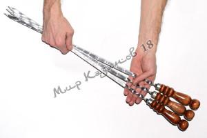 Шампур 45 см Ручка дерево с огнеупорным кольцом