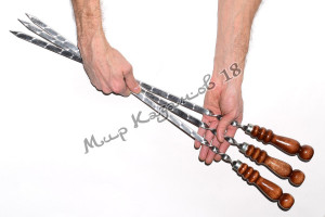 Шампур из нерж. стали 550 х 12 х 3 мм Ручка дерево с огнеуп. кольцом