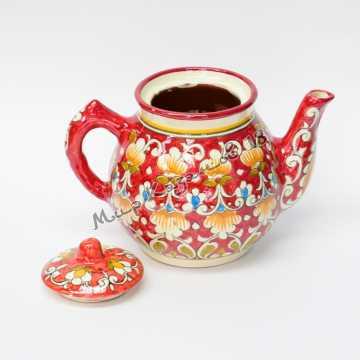 Чайник керамический 1 л. Qora galam красный