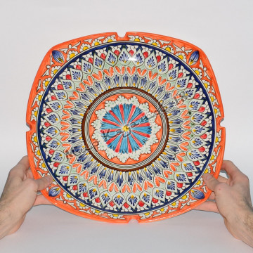 Ляган (фарфор) 40 см НАКША Оранжевый квадрат
