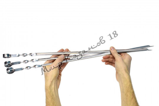 Шампур угловой 55 см Ручка кольцо Нержавеющая сталь
