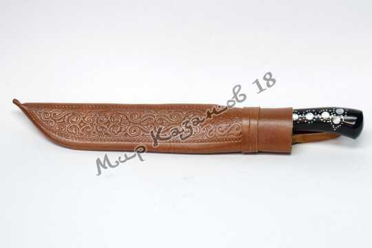 Пчак афганка, рукоять Рог архара, гарда мельхиор, сталь ШХ 15