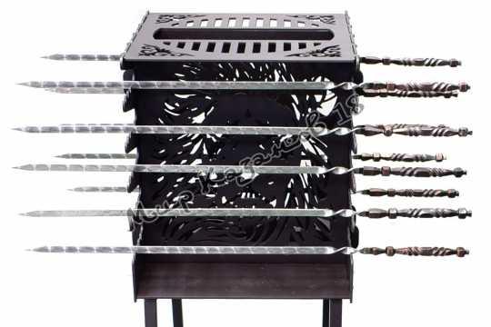 Вертикальный мангал ЛЕВ на 10 шампуров с ножками, сталь 4 мм