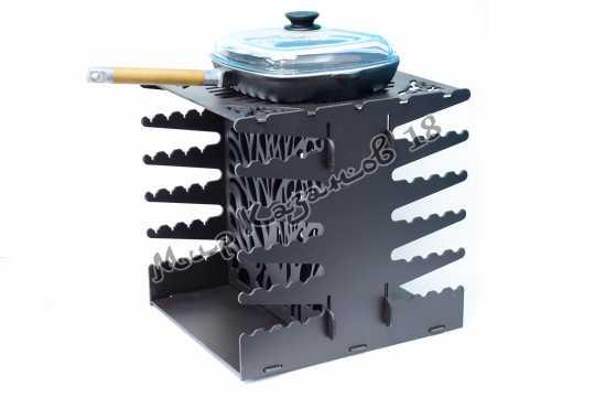 Вертикальный мангал КОСТЁР на 10 шампуров, сталь 4 мм