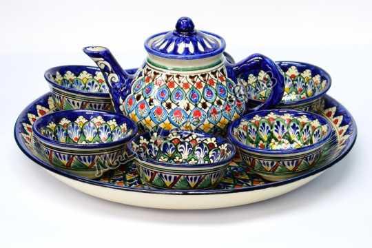 Чайный набор Риштанской керамической посуды Синий