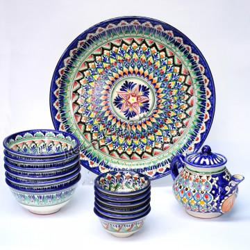 Комплект Риштанской керамической посуды Синий