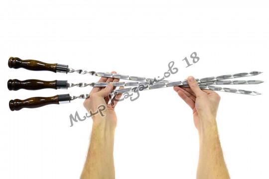 Шампур 45 см Ручка дерево с огнеупорным кольцом (турецкий лак)
