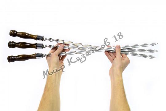 Шампур 45 см широкий 16мм Ручка дерево с огнеупорным кольцом (турецкий лак)