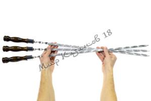 Шампур из нерж. стали 550 х 12 х 3 мм Ручка дерево с огнеуп. кольцом (тур. лак)