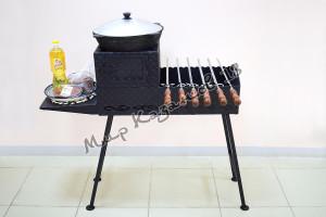 Мангал 70х30см разборный (печь без трубы, 1 столик, ножки), сталь 4мм