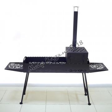Мангал 100х30см разборный (печь с трубой, 2 столика, ножки), сталь 4мм