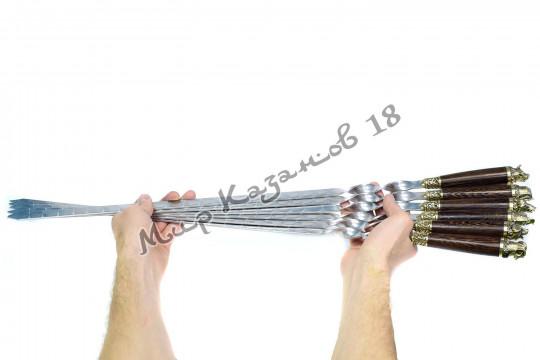 Подарочный набор плоских шампуров (Звери) 6 шт 45 см