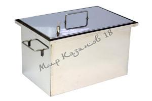 Коптильня 40х25х25 см с гидрозатвором 1,5 мм Плоская крышка