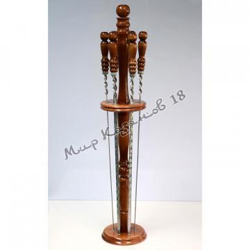 Подставка для 6 шампуров, деревянная стойка