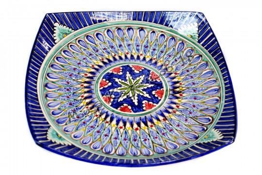 Блюдо квадратное 42 см Синее