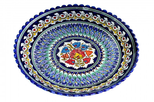 Ляган керамический Ромашка 41 см Синий