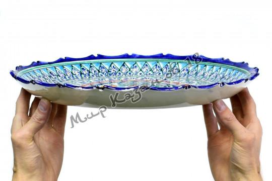 Ляган керамический резной край 37 см Синий