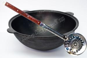 Узбекский чугунный казан круглое дно 40 л.+шумовка