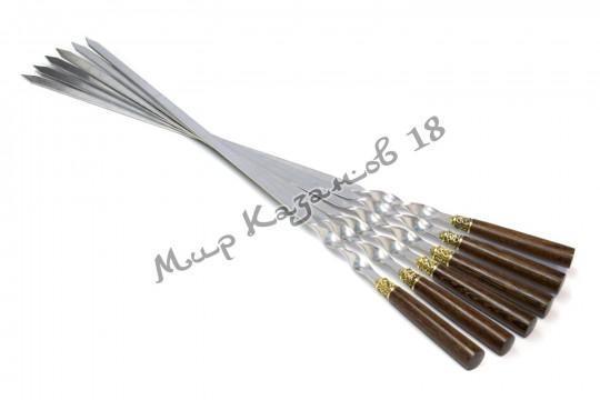 Подарочный набор плоских шампуров (Венге) 6 шт 45 см