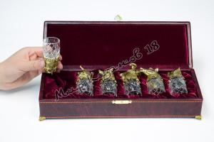 Комплект шкатулка с хрустальными стопками 6 шт