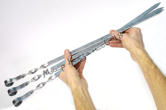 Шампур плоский 400 х 12 мм из нерж. стали 3 мм Ручка кольцо